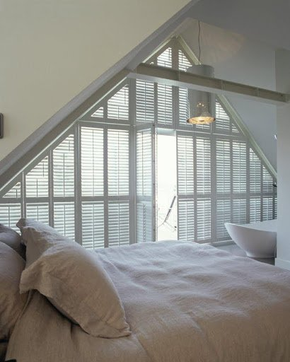 triangular shaped plantation shutters